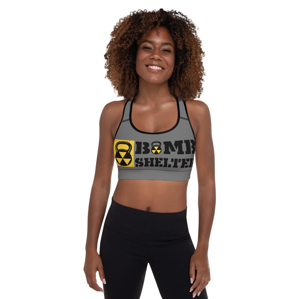 Gray And Black Bomb Shelter Logo Sports Bra
