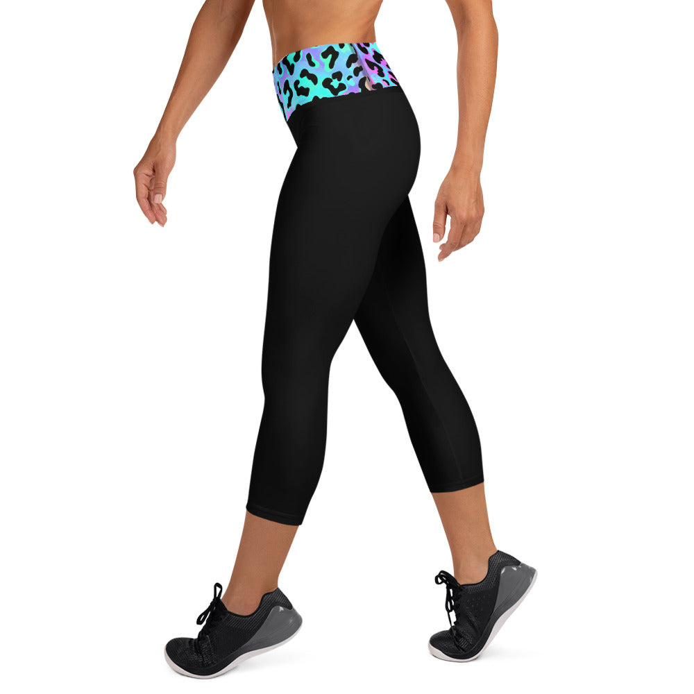 Black Capri Leggings Neon Leopard Waistband