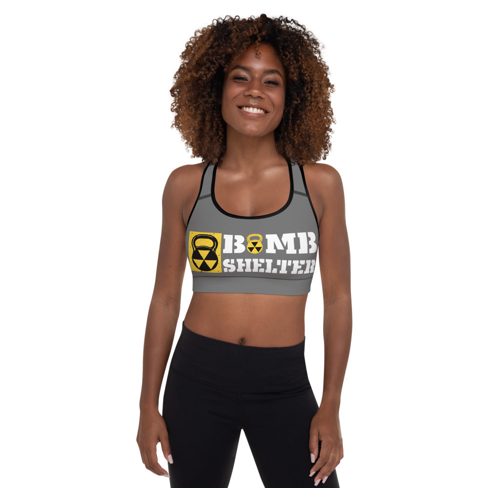 Gray And White Bomb Shelter Logo Sports Bra
