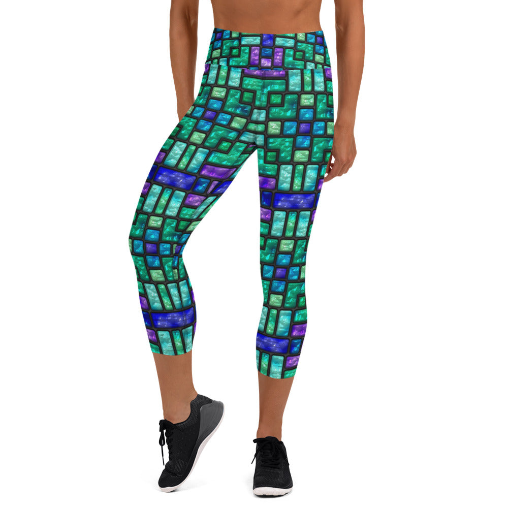 Stained Glass Emerald And Amethyst Capri Leggings