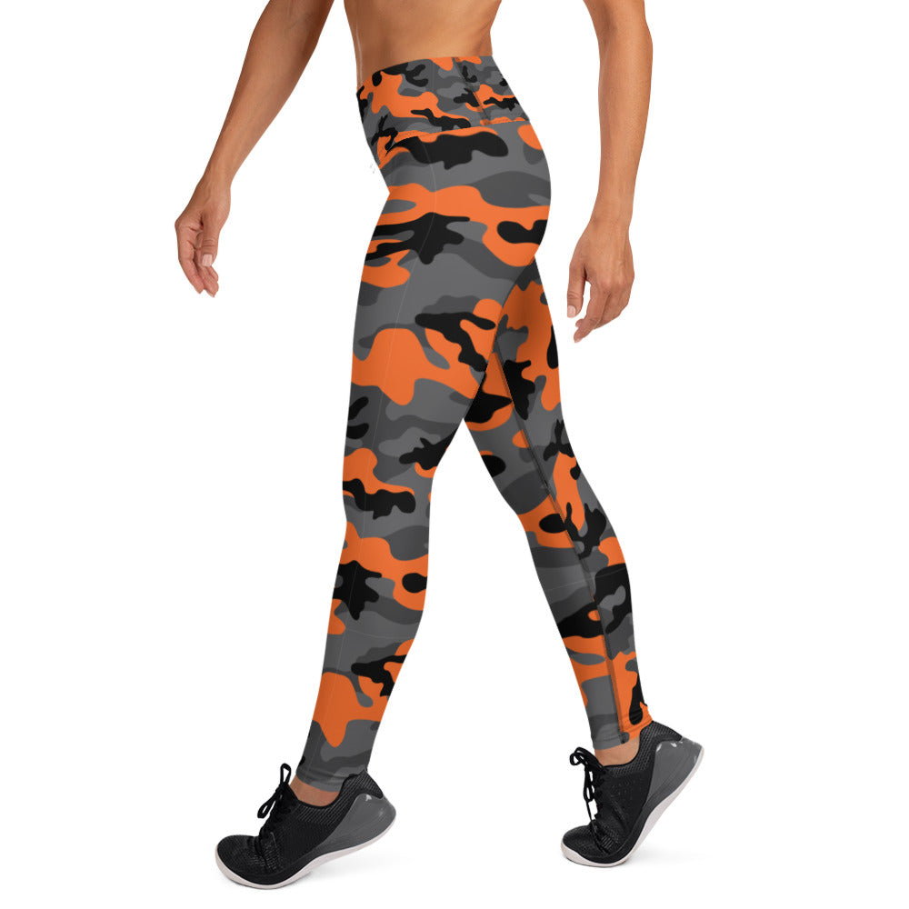 Orange, Black And Gray Camouflage Leggings