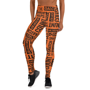 Orange Kettlebell Sport Acronyms Leggings