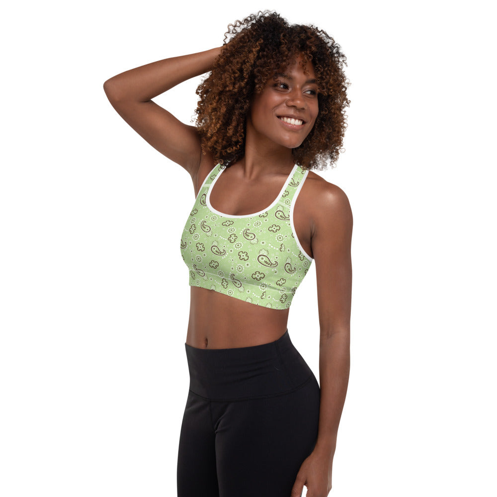 Green Bandana And Boots Sports Bra
