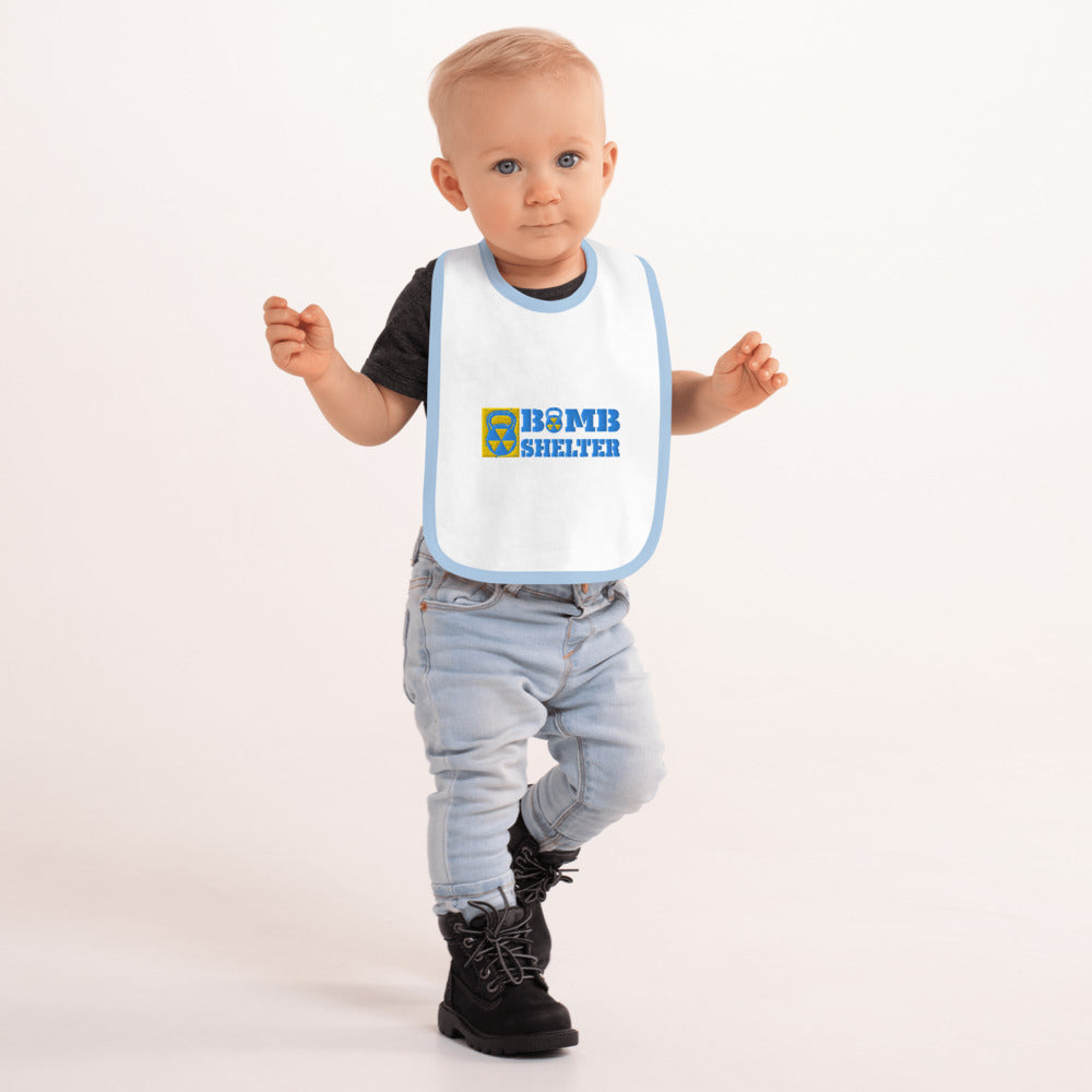 Baby Blue Bomb Shelter Embroidered Bib