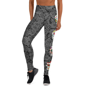 Colorful Sugar Skulls Gray Roses Leggings