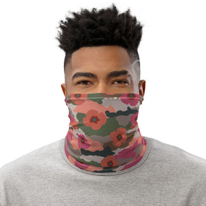 Coral And Rose Floral Camouflage Neck Gaiter