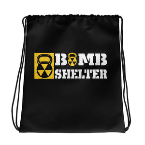 Black Bomb Shelter Drawstring bag