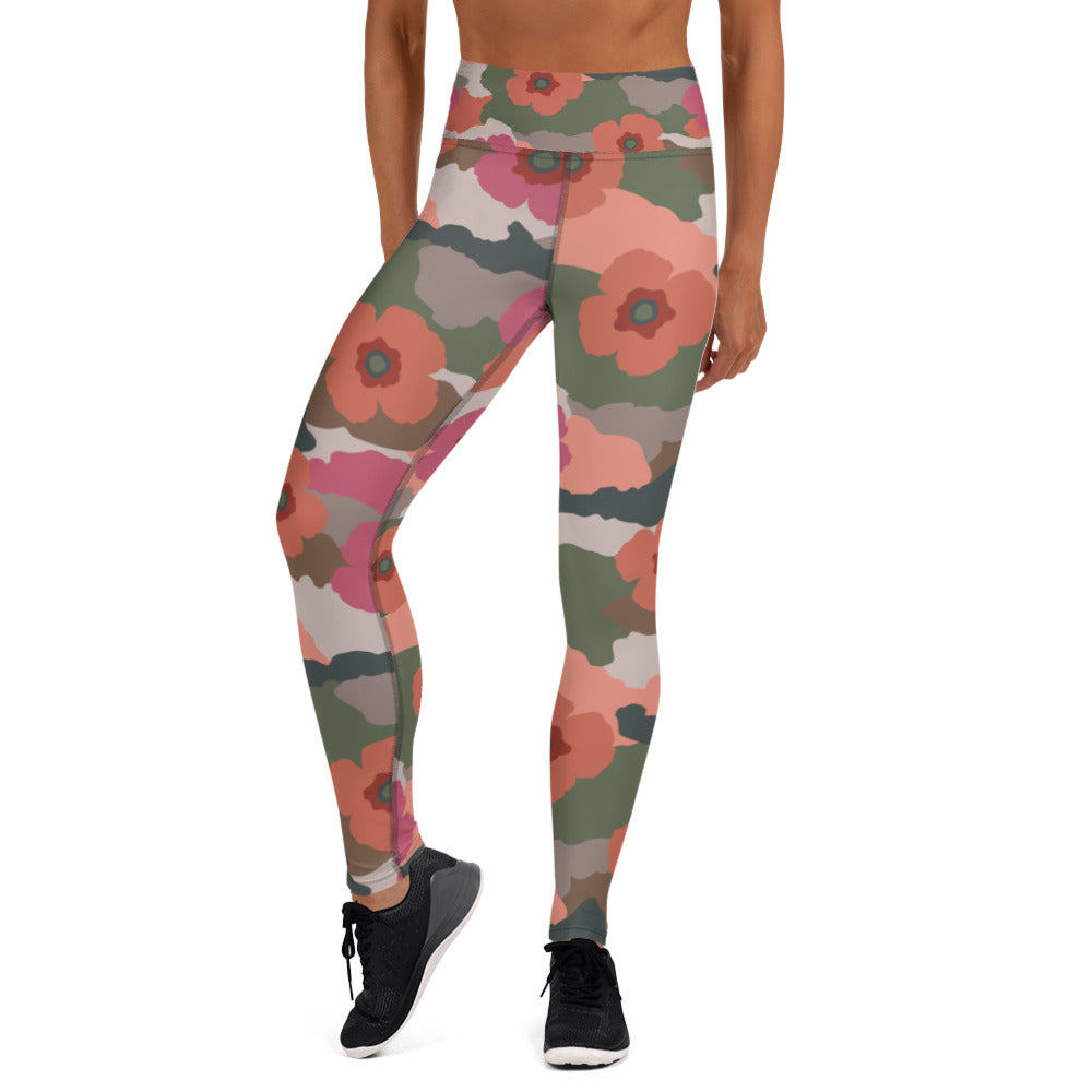 Coral And Rose Floral Camouflage Leggings