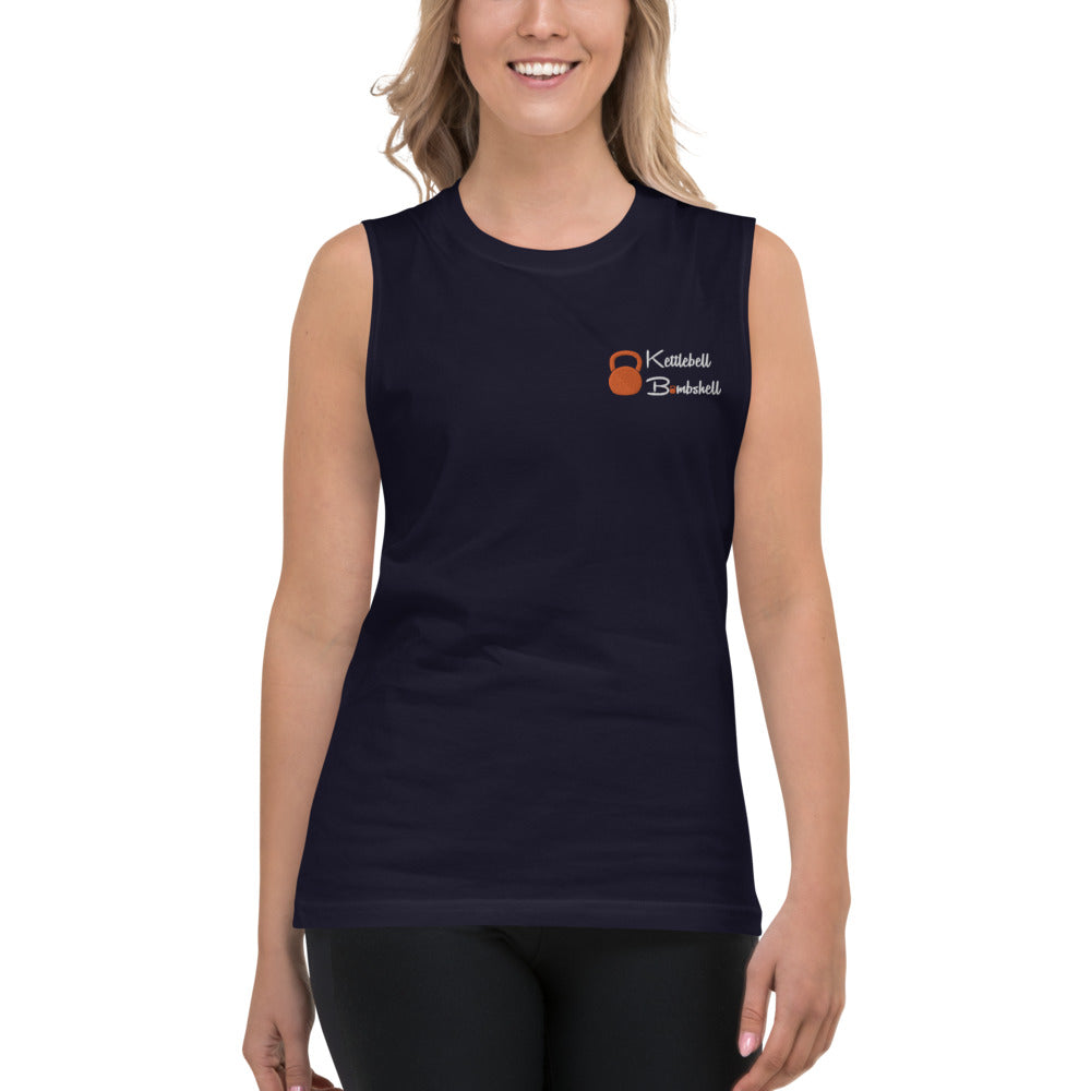 Kettlebell Bombshell Embroidered Muscle Shirt