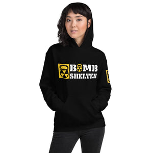 Ladies Bomb Shelter Hoodie White And Gold Logo