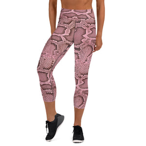 Rose Snake Skin Capri Leggings
