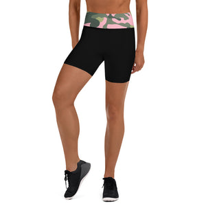 Black Shorts Green/Pink Camouflage  Waistband
