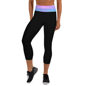 Black Capri Leggings Fruit Striped Waistband