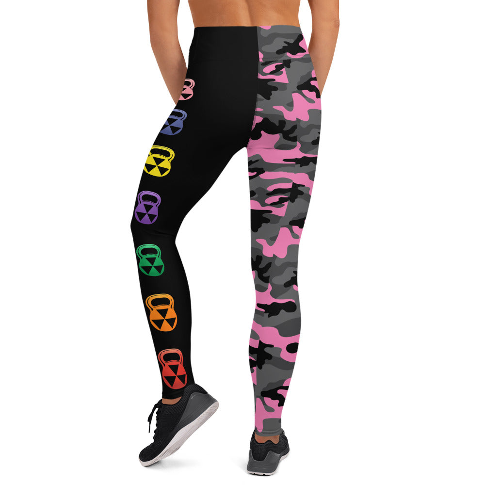 The Rain-Bell Pink/Black Half Camo  Leggings