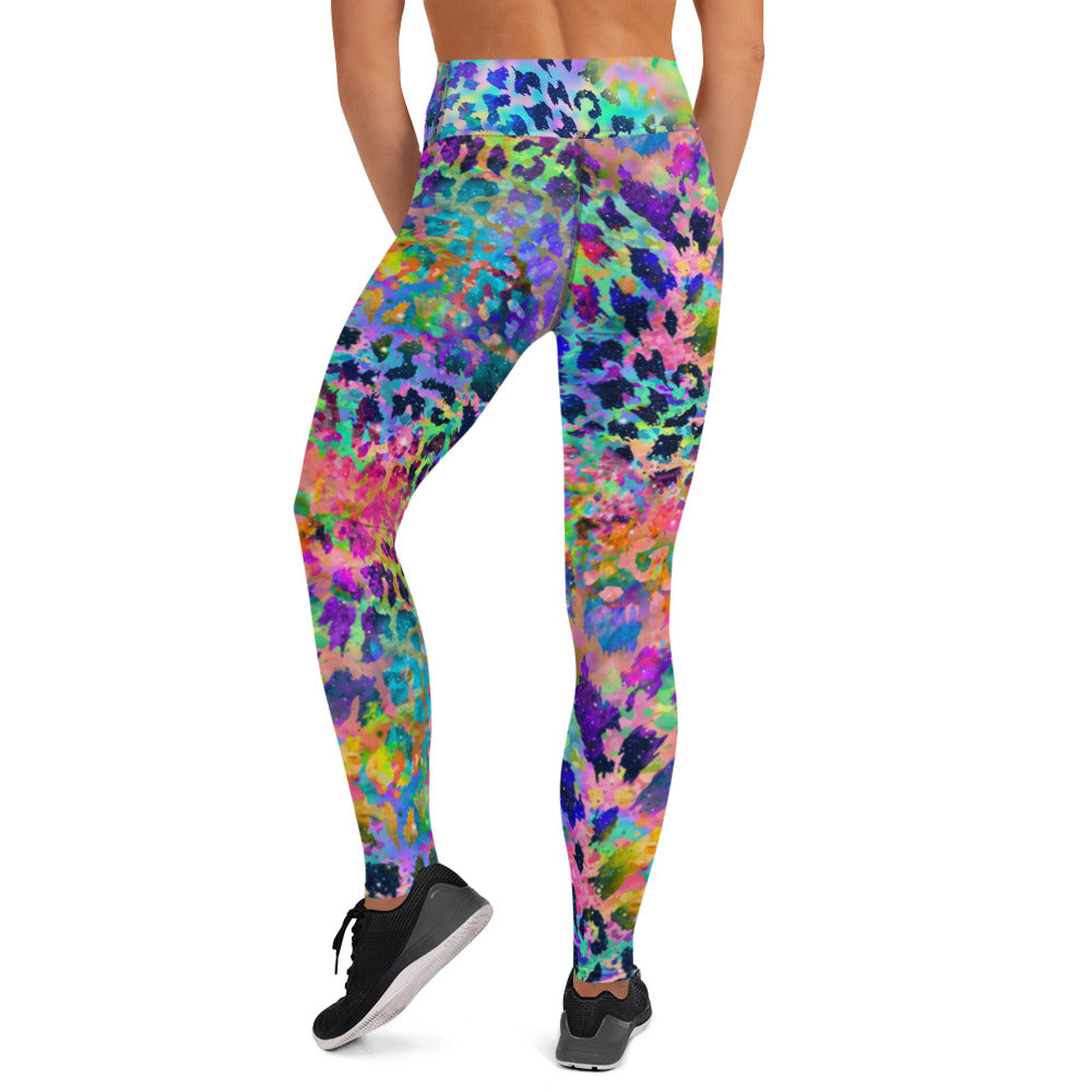 Purple And Blue Water Color Leopard Leggings