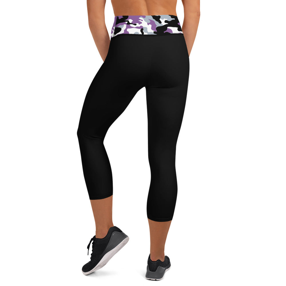 Black Capri Leggings Purple/Black Camouflage Waistband