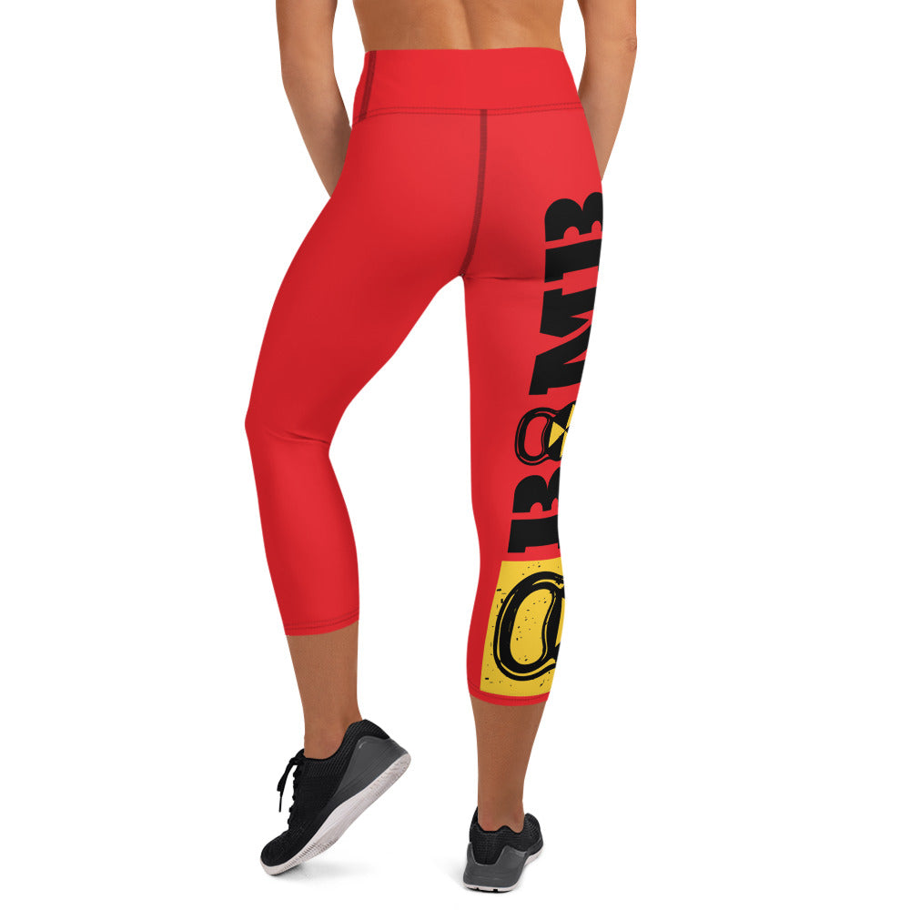 Red And Black Bomb Shelter Logo Capri Leggings