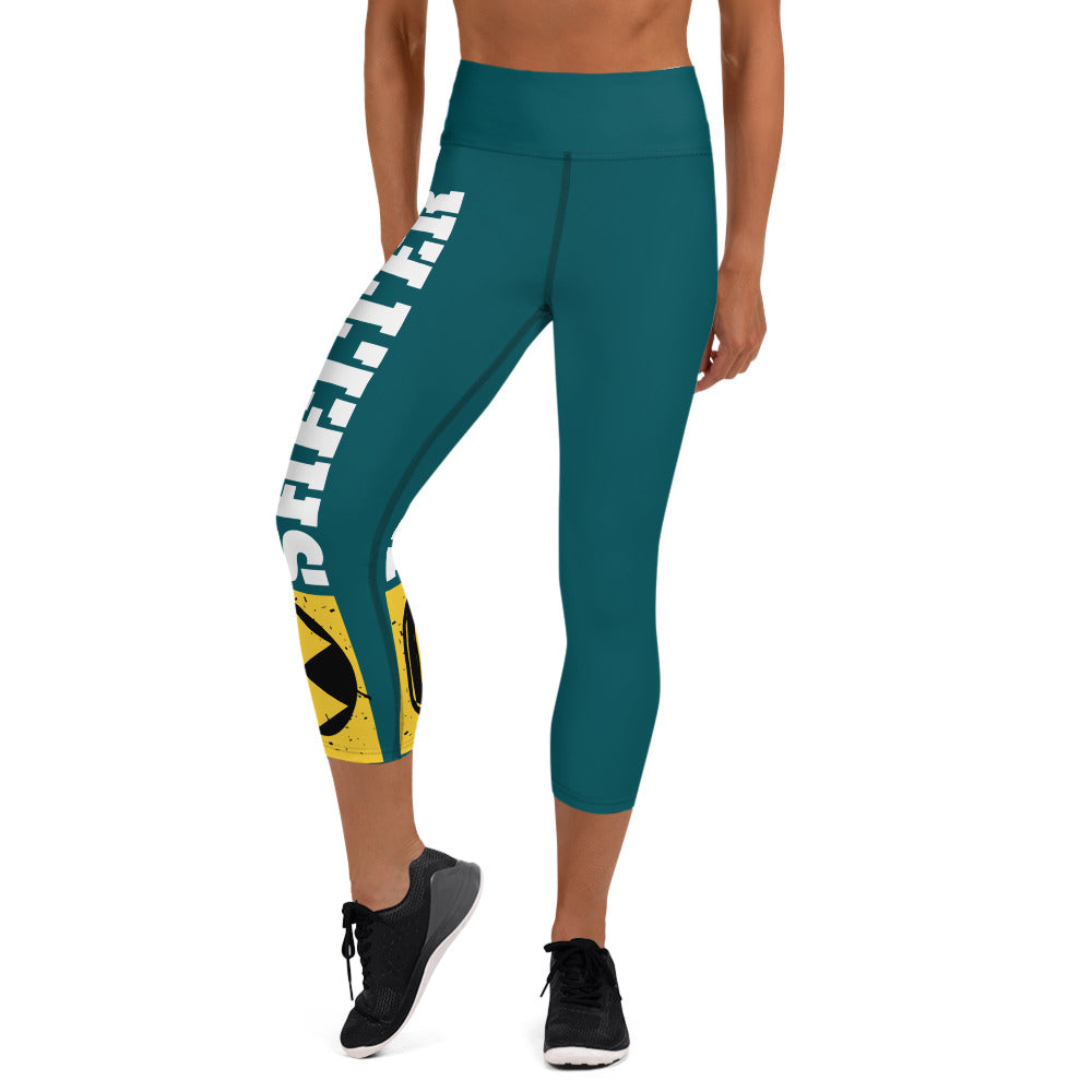 Teal And White Bomb Shelter Logo Capri Leggings