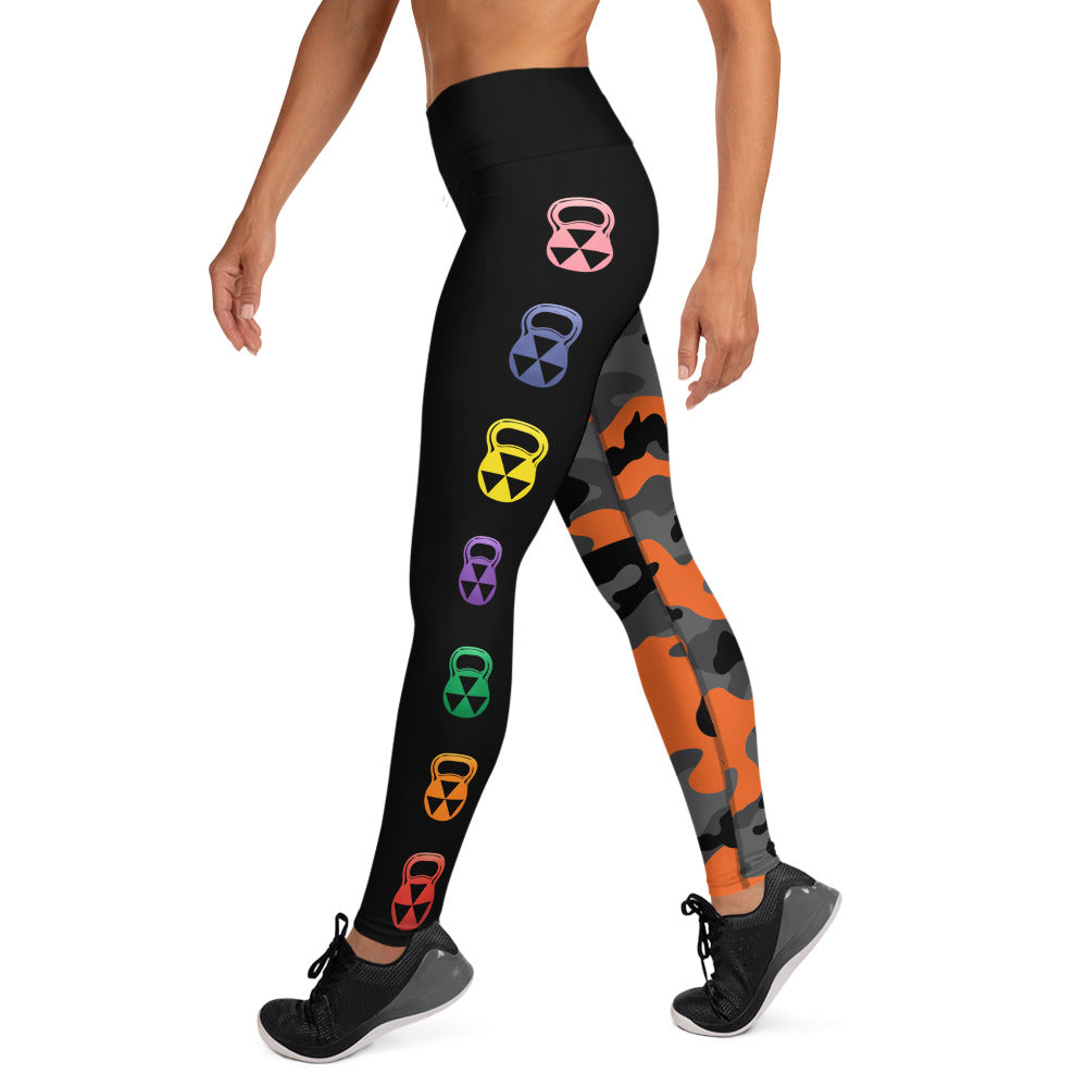 The Rain-Bell Orange/Black Half Camo Leggings