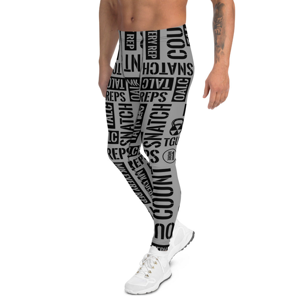 Men's Light Gray Kettlebell Acronyms Leggings
