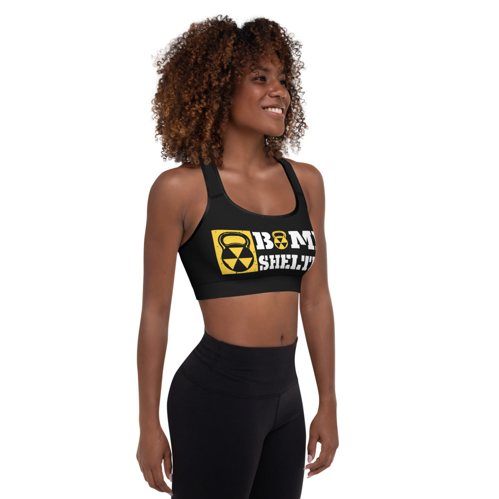 Black And White Bomb Shelter Logo Sports Bra