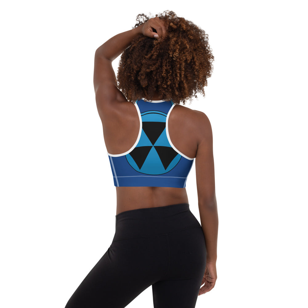 Blue And White Bomb Shelter Logo Sports Bra