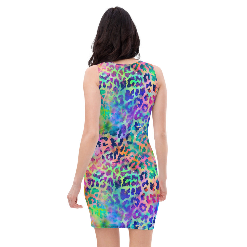 Blue And Green Water Color Leopard Dress