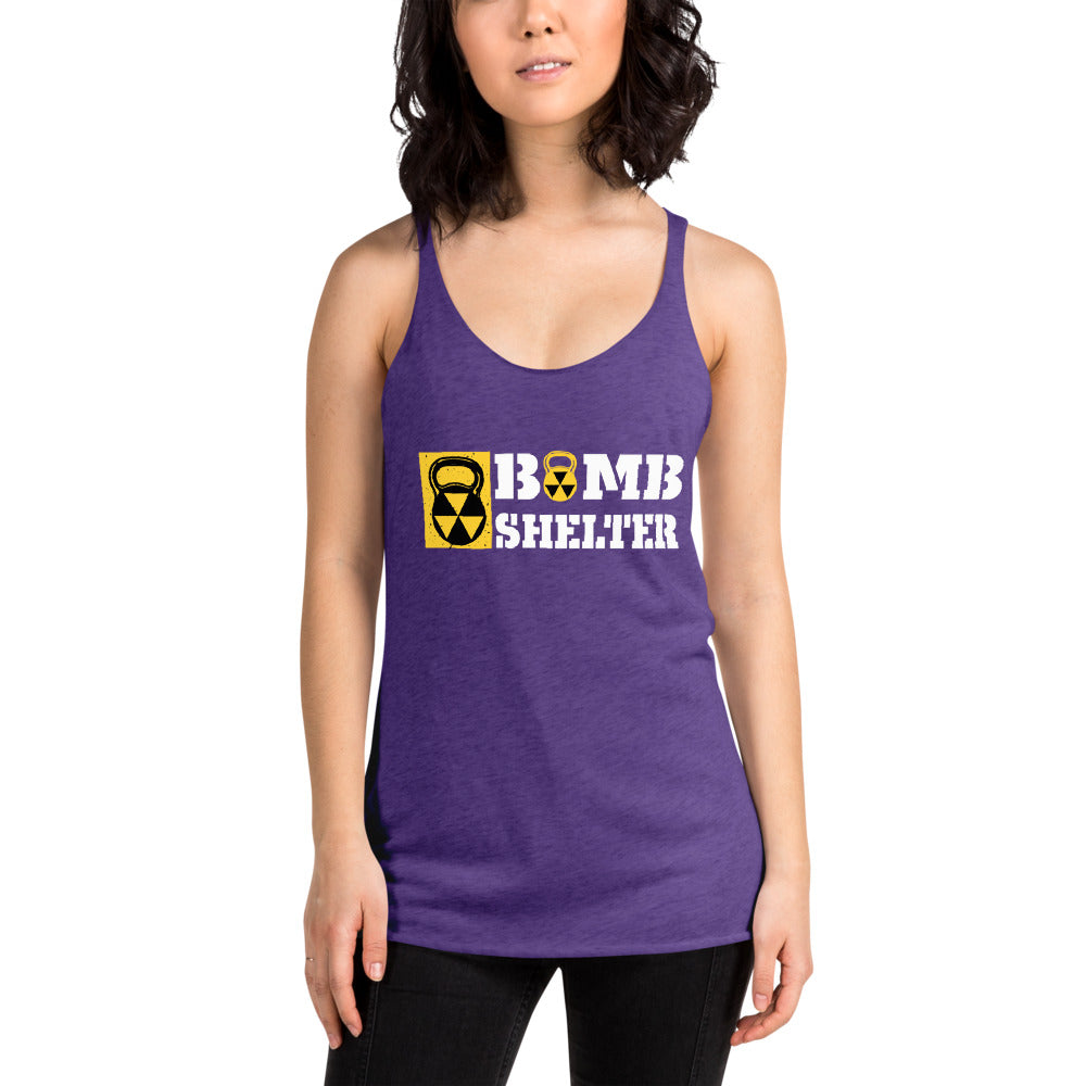 Ladies Bomb Shelter White Logo Racerback Tank
