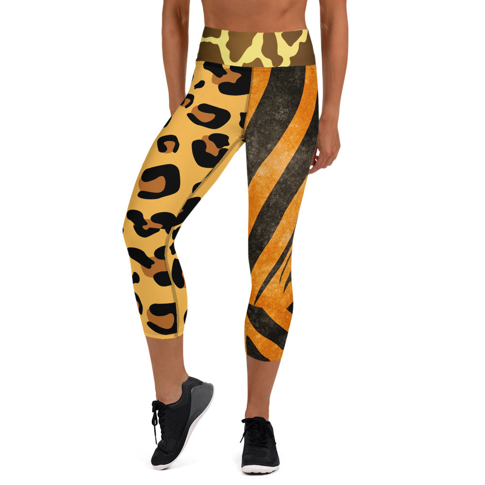 Brown Wild Animal Print Capri Leggings