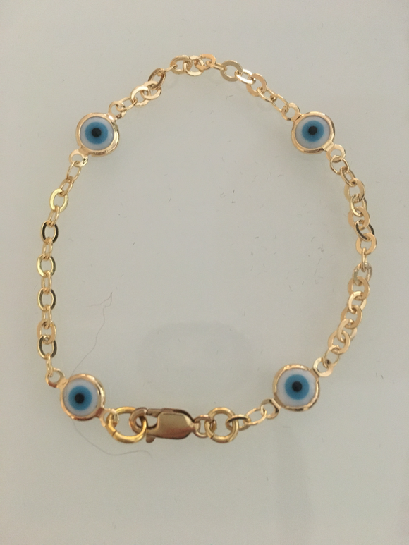 Blue and White Evil Eyes Bracelet