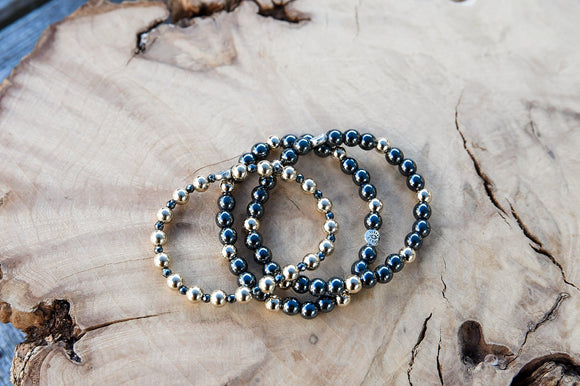 5mm 14K Gold Filled Beads & 3mm Hematite Bracelet