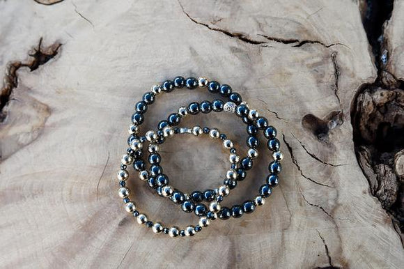 6mm Hematite & 6mm 14K Gold Filled Beads
