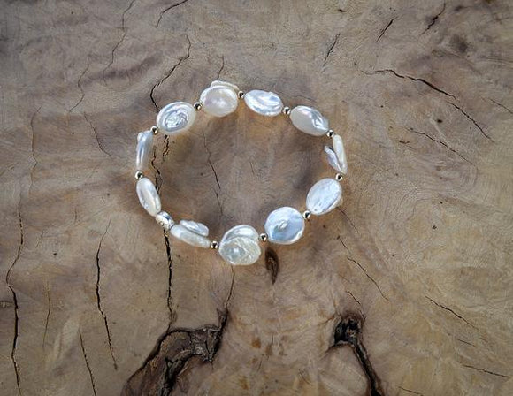 Freshwater Pearl Bracelet w/3mm 14K Gold Filled Beads