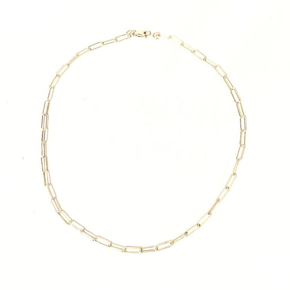 Thin Flat Link Chain Necklace