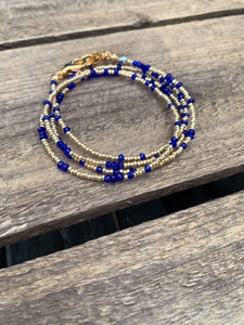 Gold Seed Beads with Colored Crystals Mask Chain