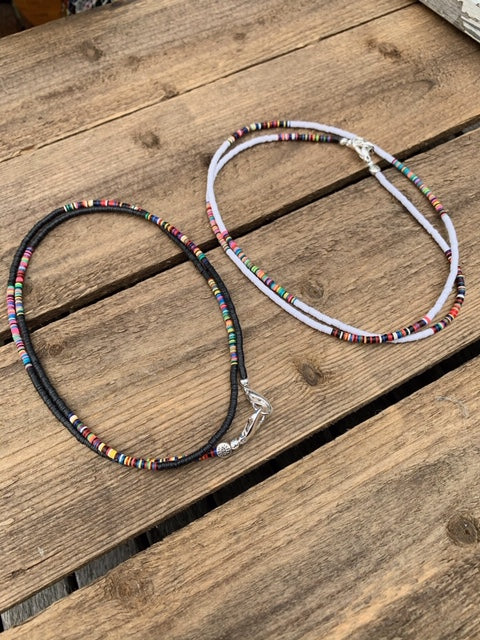 African Vinyl Beaded Mask Chains w/ Multicolored Spacers