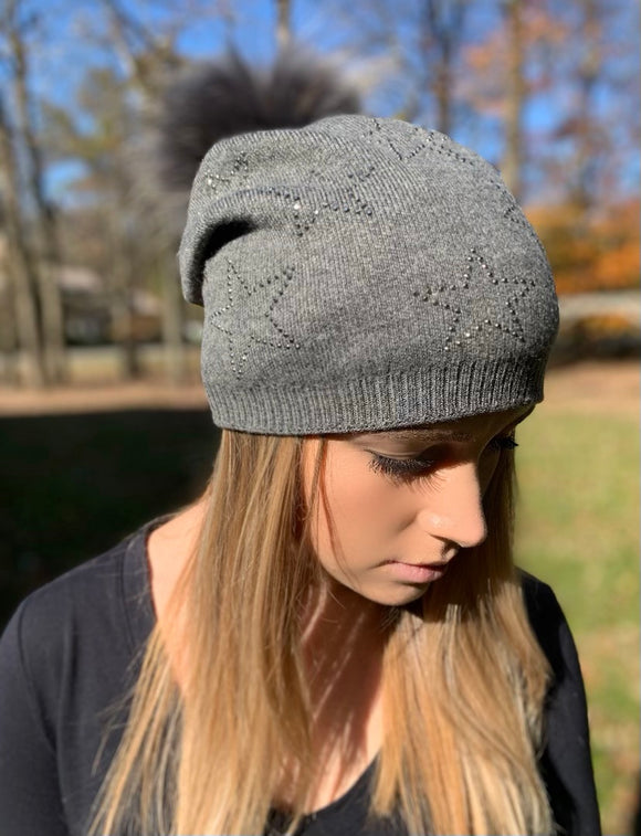 Multi Crystal Star Beanie Hat