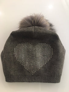 Large Crystal Heart Beanie Hat