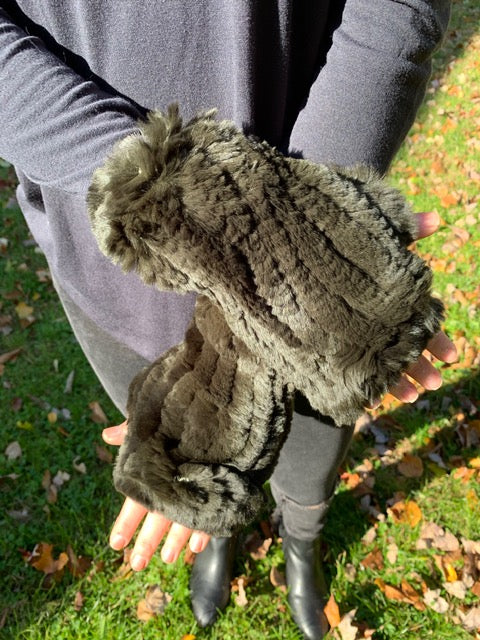 Fingerless Rabbit Fur Gloves