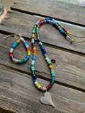 Rainbow Enamel Beads on Leather Necklace