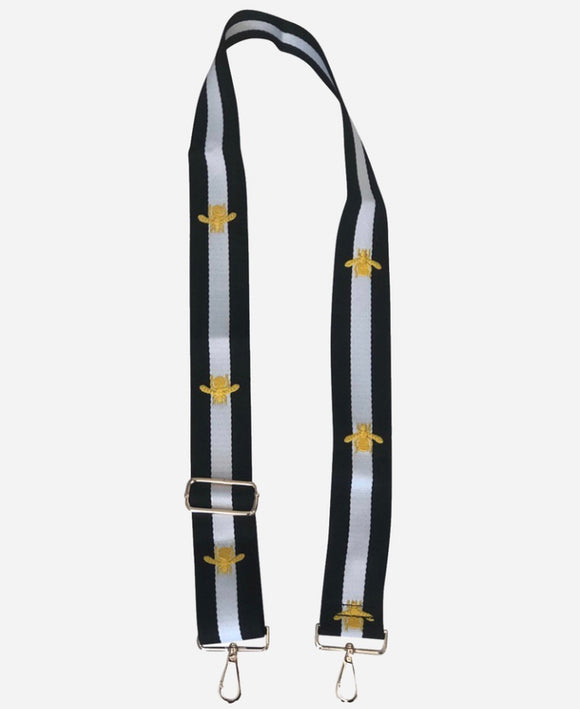 Black/White Stripe w/Embroidered Gold Bee Adjustable Bag Strap