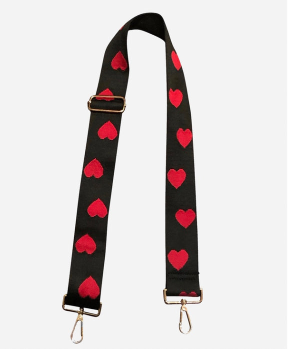 Black w/EMBROIDERED Red Hearts Adjustable Bag Strap