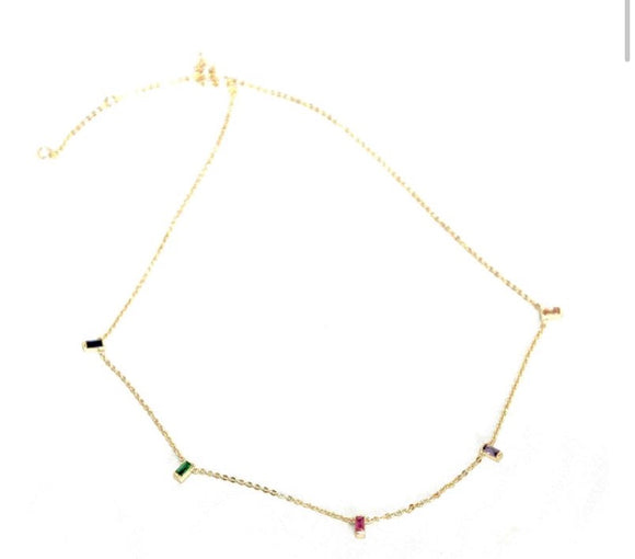 Colorful Baguettes Short Necklace