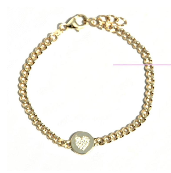 Thick Link with CZ Heart Disc