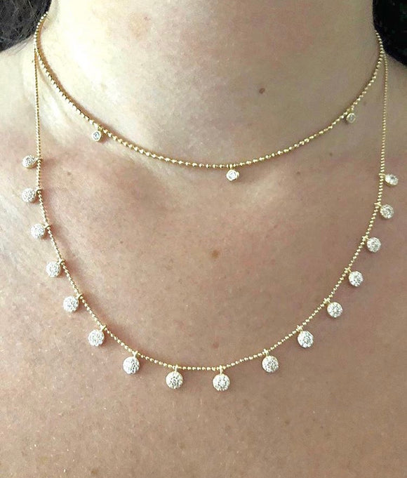 Top- ball chain gold vermeil Choker with 3 Tiny CZ Discs--------- Bottom- ball chain gold vermeil Necklace with 16 Tiny CZ Discs