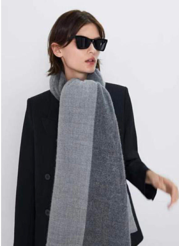Grey Two Tone Scarf Shawl