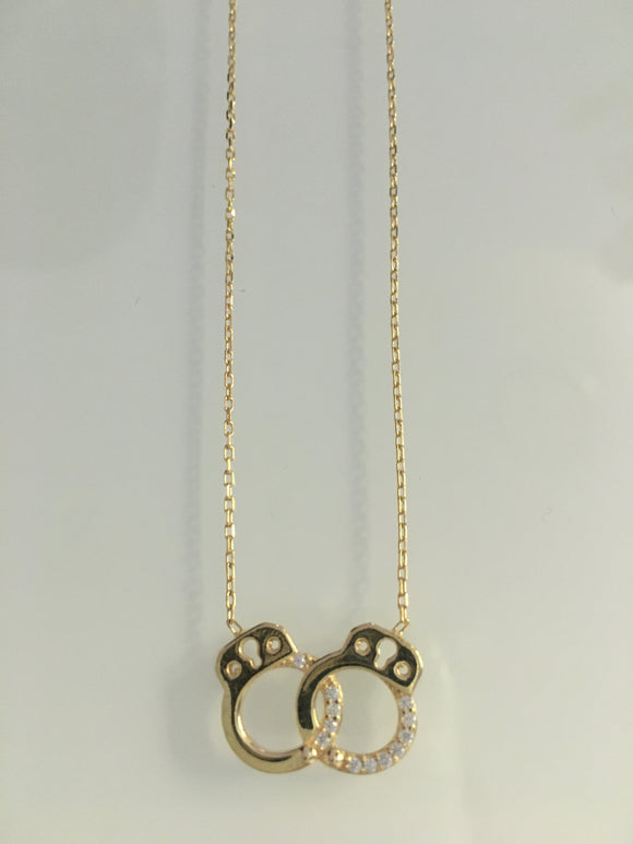 Handcuffs w/ CZ Necklace