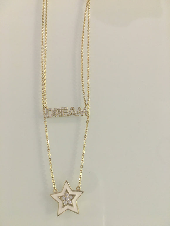 Double Necklace- CZ Dream and Enamel Star