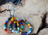 Rainbow Enamel Beads on Leather