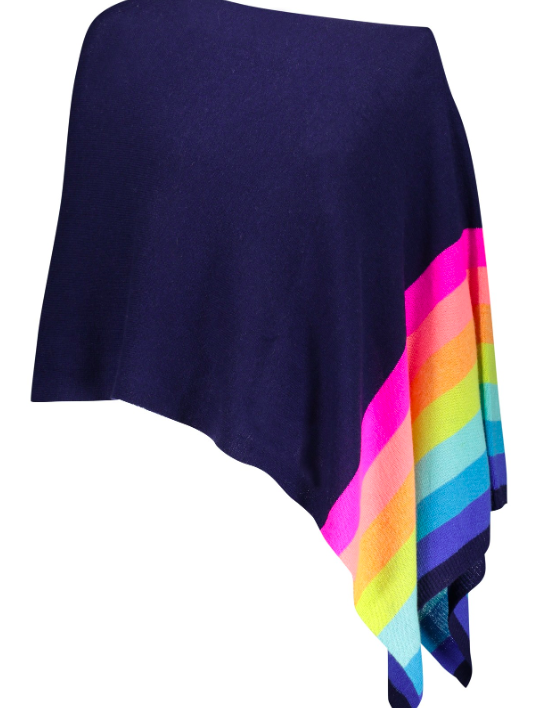Cashmere Rainbow Border Topper- Midnight
